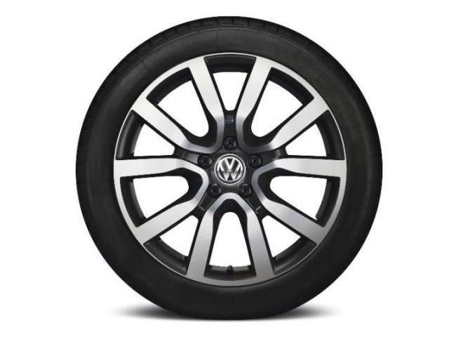 5K0071498BAX1 - Volkswagen 18 serron alloy wheel - black gloss & machined. Tire, each ...